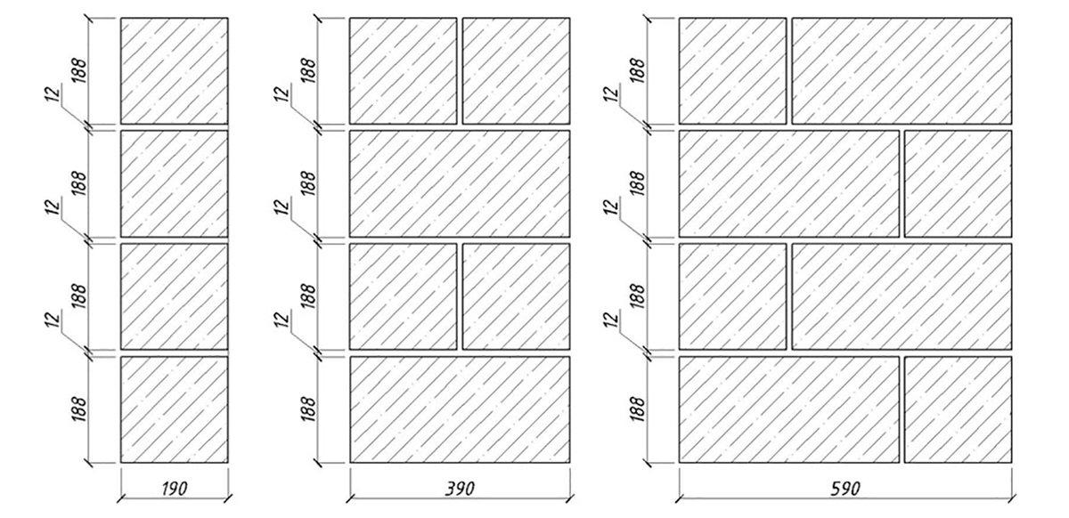 схема кладки керамзитобетонных блоков