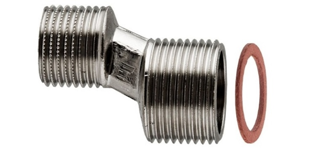Хромированная труба для полотенцесушителя с резьбой