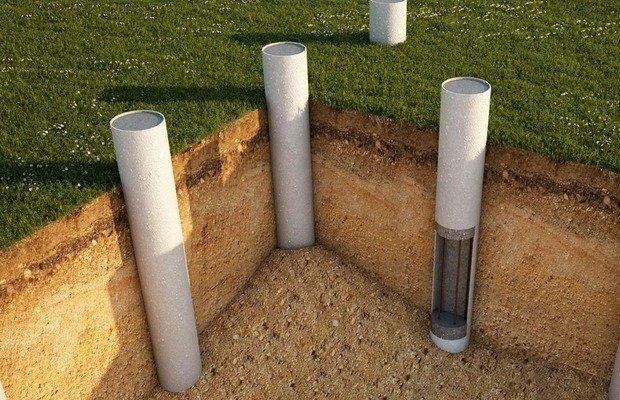 Свайный фундамент из асбестовых труб 150 мм