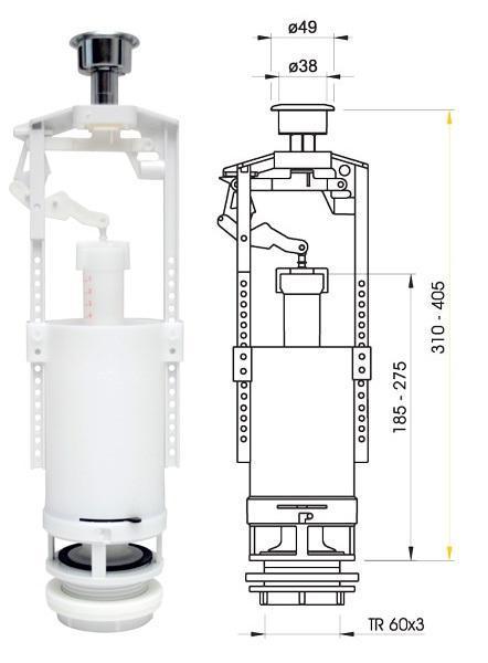 Запорная арматура для сливного бачка для верхней подводкой