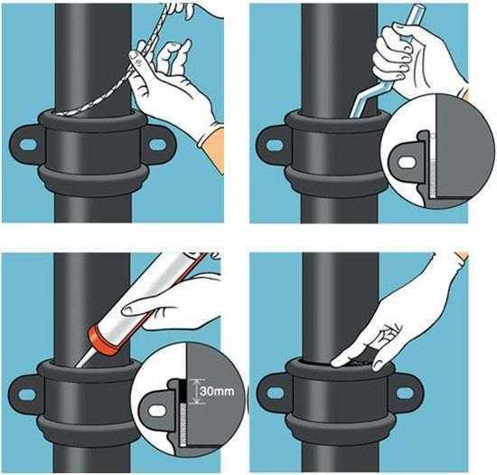 Силиконовым герметиком для чугунных труб