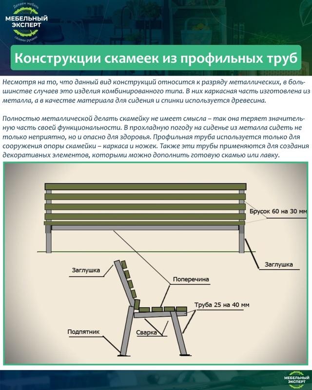 Как изготовить садовую скамейку своими руками из профильной трубы